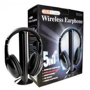 MH2001 5-in-1 Wireless Headphones w/Microphone Emitter & FM Radio