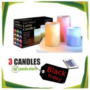 3 Φωτιζόμενα  LED RGB κεριά με τηλεχειριστήριο για διακόσμηση στο σπίτι