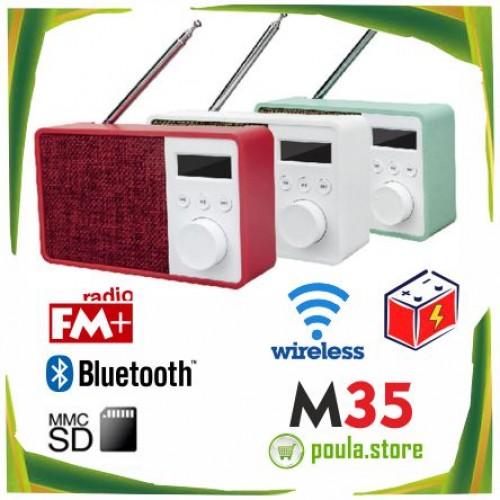 Jonter M35 Ασύρματο φορητό ηχείο Bluetooth με ραδιόφωνο και ρολόι FM