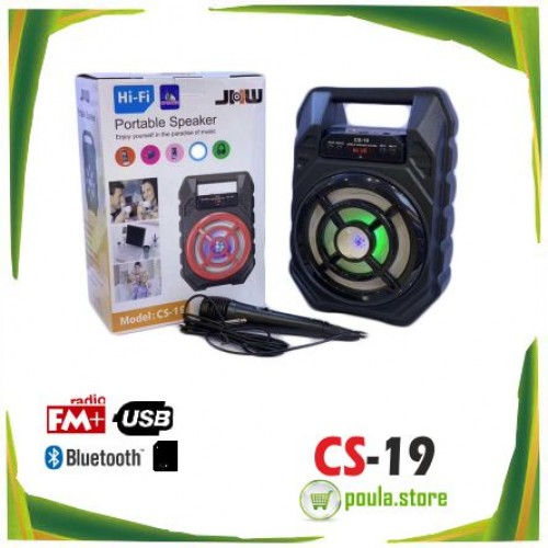 CS-19 Φορητό Ασύρματο Ηχείο Bluetooth LED USB-SD-AUX-KARAOKE MIC-FM Radio
