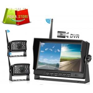 """Ασύρματη οθόνη 7"""" 2.4G αυτοκινήτου 800x480 έγχρωμη οθόνη TFT LCD 2 ΚΑΜΕΡΕΣ"""