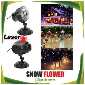 Snow Flower Νυχτερινός Χριστουγεννιάτικος Φωτισμός Laser RGB