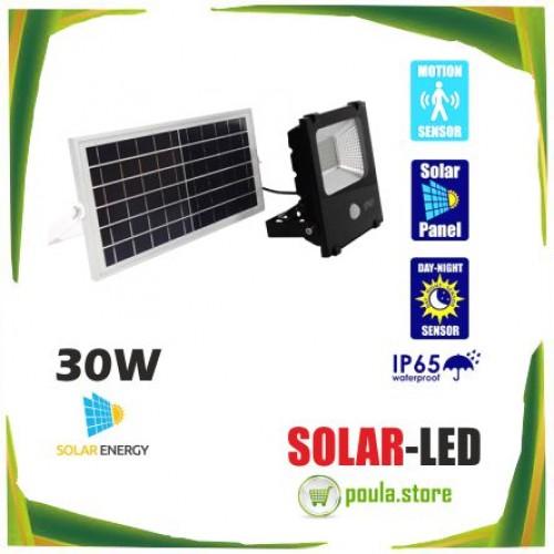 Ηλιακός Φωτοβολταϊκός Προβολέας LED 30W 1800lm 180° Αδιάβροχος IP65 με Αισθητήρα Κίνησης