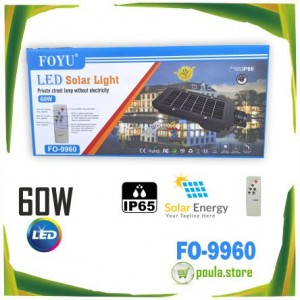 FOYU FO-9960 Φωτοβολταικός προβολέας 60W Αδιάβροχος με χειριστήριο IP66