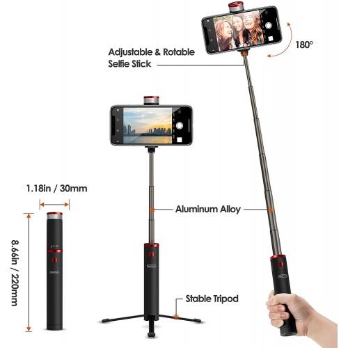 Τηλεχειριζόμενο Selfie Stick Τρίποδο Αλουμινίου ABS EZRA BST01 για Smartphone – Μαύρο
