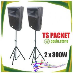 TS Πακέτο παθητικών ηχείων με τρίποδες 2 x 300W