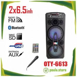 """Ηχείο φορητό Bluetooth Karaoke Speaker OTY-6613 2x6.5"""""""