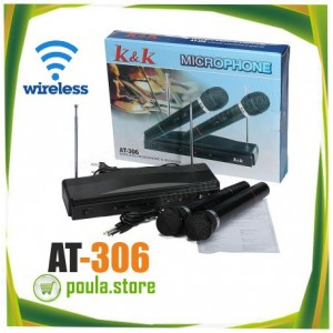 AT-306 Συσκευή Για Καραόκε Με Δύο Ασύρματα Μικρόφωνα