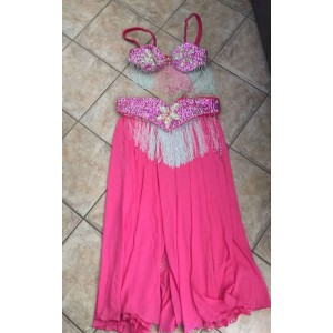 Επαγγελματική αράβικη στολή χορεύτριας ροζ με χάντρες