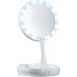 Διπλός Μεγεθυντικός Καθρέφτης αναδιπλούμενος με Φωτισμό LED με μπαταρία