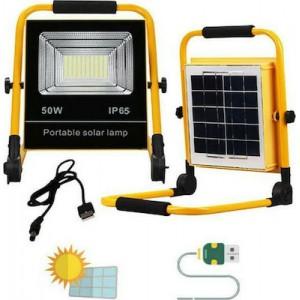 Φορητός Ηλιακός Προβολέας LED 50 W με Βάση Επαναφορτιζόμενος Αδιάβροχος CH-50