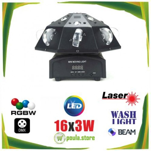 SMT-003 Robot Spot κινούμενη κεφαλή Laser 16x3W