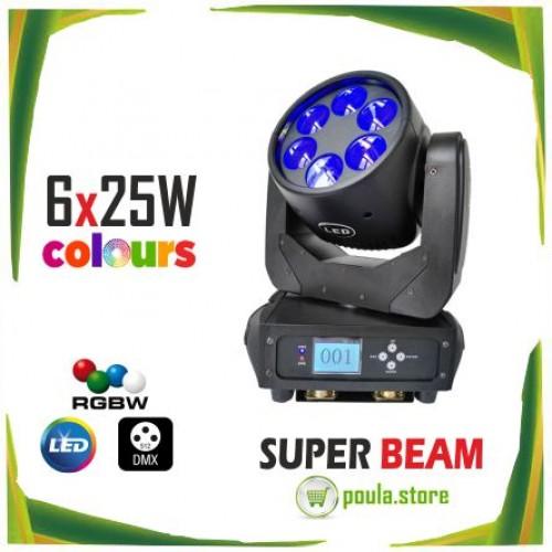 Επαγγελματικό DJ Light LED κινητών κεφαλών Beam Stage 6x25W