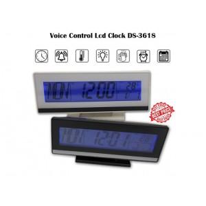 Ρολόι Ξυπνητήρι με Αισθητήρα Ήχου, LCD Οθόνη & Ένδειξη Θερμοκρασίας DS-3618