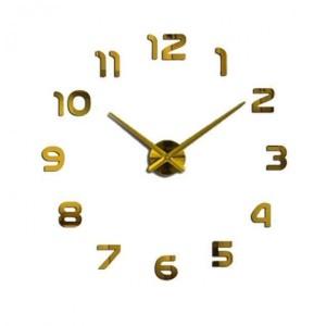 Ρολόι Αυτοκόλλητο Τοίχου Μοντέρνο Σχεδιασμός Διακοσμητικό Χρυσαφί AL004-G