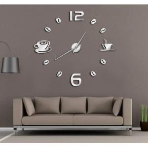 Ρολόι Αυτοκόλλητο Τοίχου Μοντέρνο Σχεδιασμός Διακοσμητικό Aσημί AL063-S