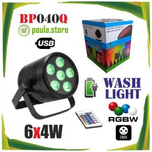 BP040Q LED SPOT ΦΩΤΙΣΤΙΚΟ με μπαταρία - Usb 6X4W RGBW ασύρματο χειρηστήριο