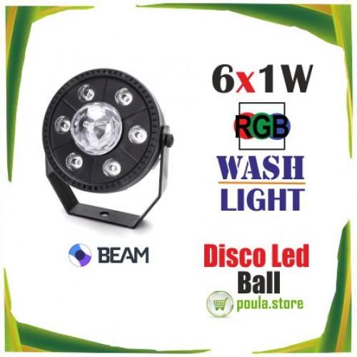 Disco Ball Par LED RGB 6 περιστρεφόμενο mini Light
