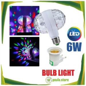 LED 6W περιστρεφόμενο φως λαμπτήρα Βιδωτή με διπλή κεφαλίδα μαγική σκηνή Disco