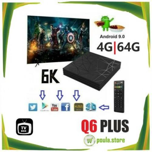 TV BOX Q6 PLUS 6K MAX 4GB 64GB ANDROID 9.0 WIFI IPTV 4 CORE